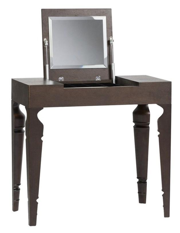 Туалетный столик Julie Brown OneТуалетные столики<br>Компактный туалетный столик темно-коричневого цвета. В закрытом виде напоминает небольшую легкую консоль. Оригинальные ножки кажутся частью одной классической точеной ножки. Под крышкой с зеркалом с внутренней стороны обнаруживается вместительный ящик для женского важного.<br><br>Material: Дерево<br>Length см: 80<br>Width см: 40<br>Height см: 75