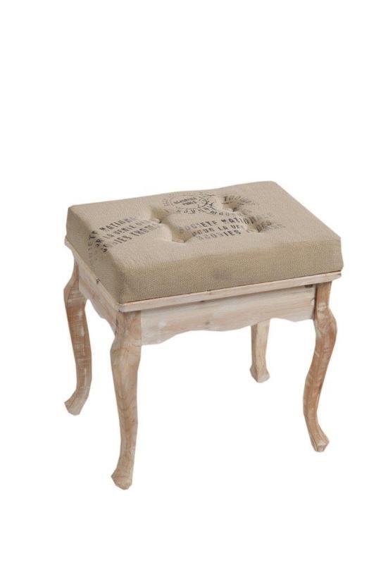 Табурет NarcissusТабуреты<br>Роскошный табурет Narcissus, словно привезенный прямиком из аристократической Франции, украсит собой любую комнату вашего дома. Изысканные резные ножки, изготовленные из натурального дерева, мягкое поролоновое сиденье, благородный светлый цвет, неброские надписи на обивке, потертости по всей поверхности – вот безусловные признаки «прованса». Приобретая такой табурет, вы можете быть уверены, что он привнесет уют, тепло и изысканность в помещение.<br><br>Материал: дерево (ель), МДФ, поролон и джут<br><br>Material: Дерево<br>Length см: 48<br>Width см: 36<br>Height см: 50
