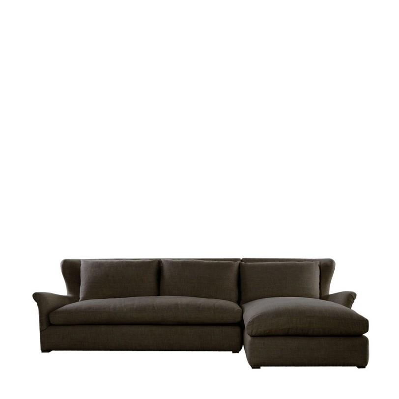 Диван Winslow Sectional Brown LinenДиваны четырехместные и более<br>Удачная идея дизайнеров марки Gramercy – соединить в единое целое черты английского «ушастого» кресла и формы современного удобного дивана. Получилось классично и комфортно, а дополнительным бонусом стали высокие и мягкие подушки-сиденья.<br><br>Material: Лен<br>Length см: 310<br>Width см: 192<br>Height см: 90