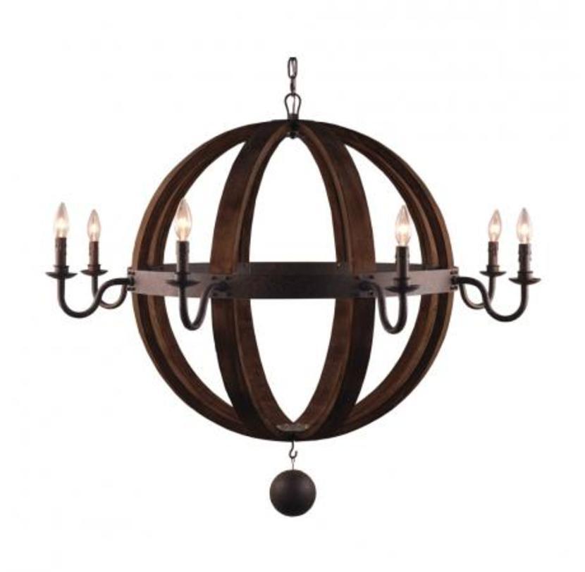 Люстра Medieval chandelierЛюстры подвесные<br>Крупный, более метра в диаметре, этот светильник напоминает о замковых интерьерах. На центральном ободе сферы из гнутых деревянных брусков закреплены металлические канделябры для ламп-свечей.&amp;amp;nbsp;&amp;lt;span style=&amp;quot;font-size: 14px;&amp;quot;&amp;gt;Высота светильника может регулироваться за счет звеньев цепи, на которой он висит.&amp;amp;nbsp;&amp;lt;/span&amp;gt;&amp;lt;div&amp;gt;&amp;lt;br&amp;gt;&amp;lt;/div&amp;gt;&amp;lt;div&amp;gt;&amp;lt;div&amp;gt;Вид цоколя: E14&amp;lt;/div&amp;gt;&amp;lt;div&amp;gt;Мощность: &amp;amp;nbsp;40W&amp;lt;/div&amp;gt;&amp;lt;div&amp;gt;Количество ламп: 6 (нет в комплекте)&amp;lt;/div&amp;gt;&amp;lt;/div&amp;gt;<br><br>Material: Металл<br>Length см: 114.0<br>Width см: 114.0<br>Depth см: None<br>Height см: 85.0<br>Diameter см: None