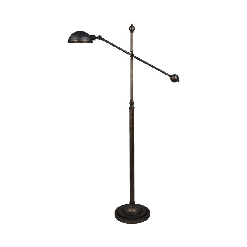 Напольный светильникТоршеры<br>Высокий торшер из черного металла. Небольшой металлический же плафон регулируется по принципу пантографа. Благодаря шарообразной ручке рычага, на котором закреплен плафон, делать это легко и приятно. Светильник рассчитан на лампу с цоколем Е27 мощностью до 60 Вт.<br><br>Material: Металл<br>Length см: 99<br>Width см: 28<br>Height см: 176