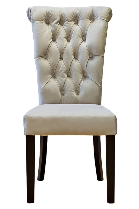 СтулОбеденные стулья<br>Мягкий стул обит нежным велюром бежево-серого цвета. Высокая, расширяющаяся к верху спинка украшена стежкой капитоне.<br><br>Material: Велюр<br>Width см: 47<br>Depth см: 53<br>Height см: 98