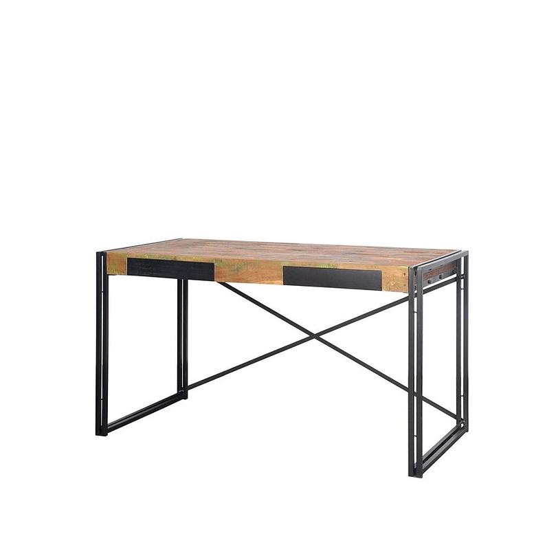 Письменный стол FerumПисьменные столы<br>Удивительный письменный стол в актуальном лофт-стиле. Металлический каркас с иксообразной спинкой обрамляет массивную столешницу из антикварного тика, в которой прячутся два выдвижных ящика.<br><br>Material: Тик<br>Length см: 140.0<br>Width см: 70.0<br>Depth см: None<br>Height см: 78.0<br>Diameter см: None