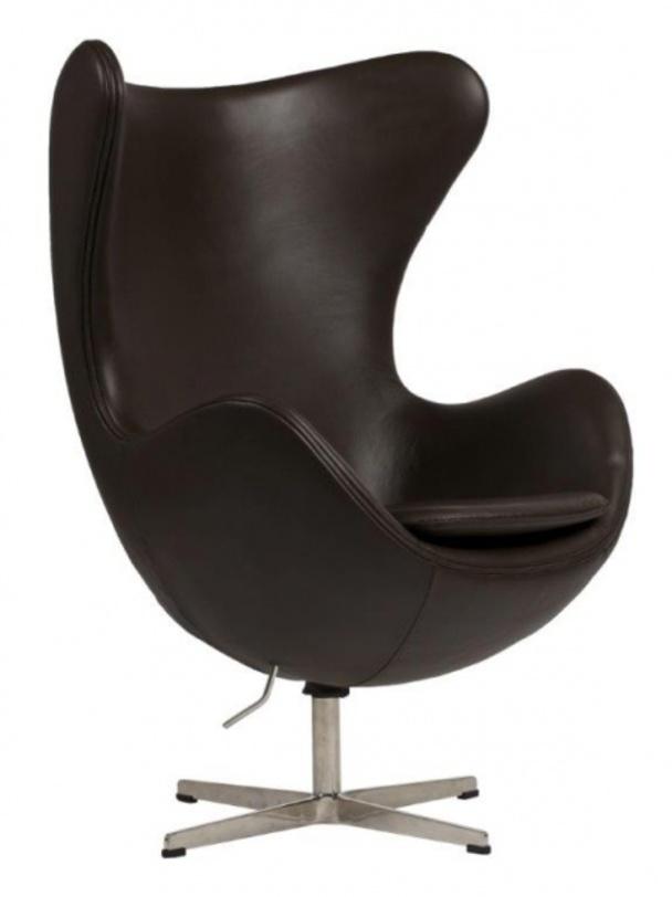 Кресло Egg Chair Dark BrownКожаные кресла<br>Материал: натуральная итальянская кожа premium-класса, поролон, основание стекловолокно, ножка из нержавеющей<br><br>Material: Кожа<br>Length см: 82.0<br>Width см: 76.0<br>Depth см: None<br>Height см: 105.0<br>Diameter см: None