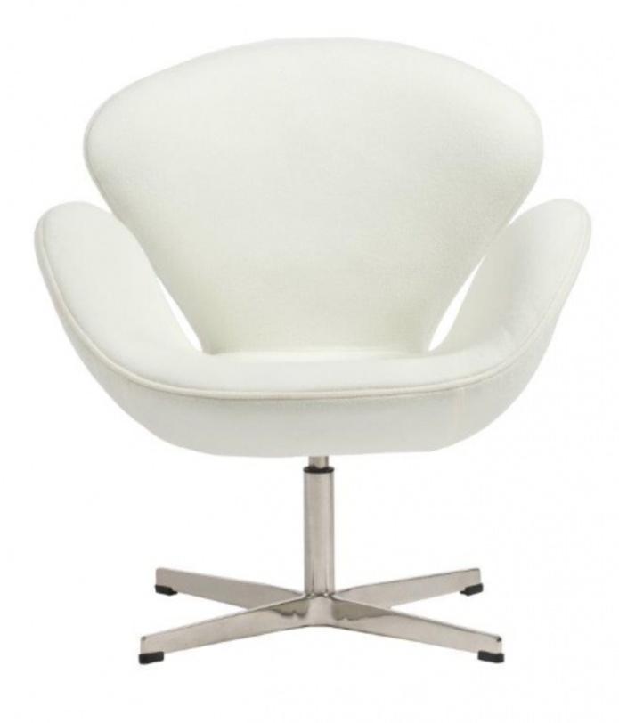 Кресло Swan Chair WhiteРабочие кресла<br>Материал: Шерсть, поролон, ножка из нержавеющей стали<br><br>Material: Шерсть<br>Ширина см: 70<br>Высота см: 78