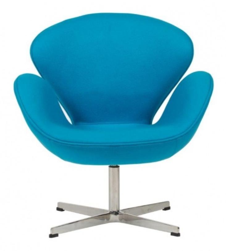 Кресло Swan Chair BlueРабочие кресла<br>Материал: Шерсть, поролон, ножка из нержавеющей стали<br><br>Material: Шерсть<br>Length см: 71.0<br>Width см: 70.0<br>Depth см: None<br>Height см: 78.0<br>Diameter см: None