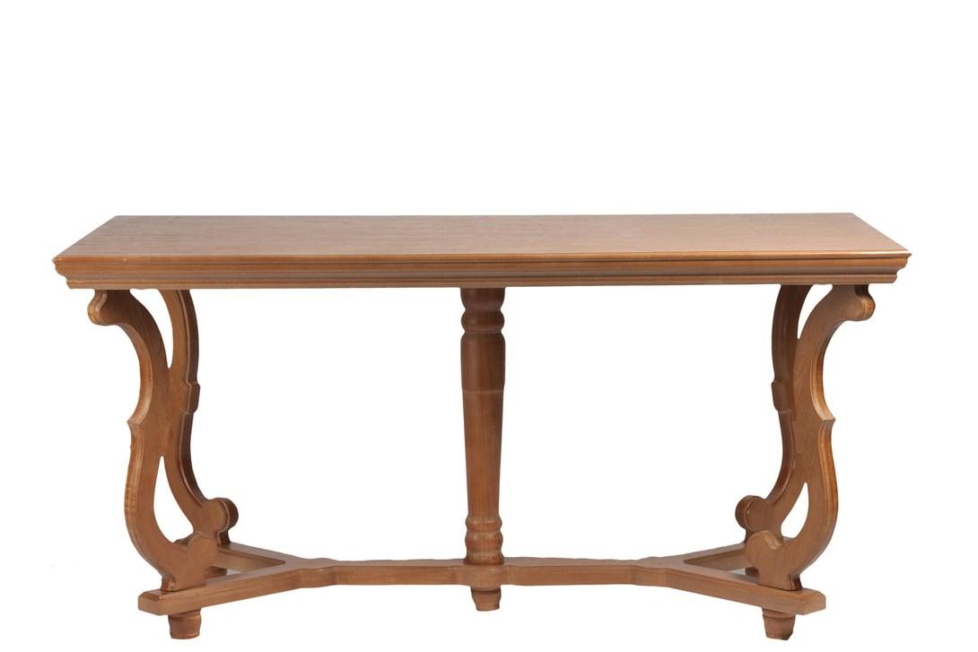 Обеденный стол BogenОбеденные столы<br>Обеденный стол Bogen изготовлен из натурального дерева – ели и МДФ. Натуральность материалов, искусственные потертости по всей поверхности, приятный светло-коричневый цвет – это все признаки изысканного и в то же время простого стиля «прованс». Просторная столешница позволяет сервировать такой стол на несколько персон или устроить романтический вечер для двоих. Это удачное приобретение для тех, кто ценит комфорт и роскошь в интерьере собственного дома.<br><br>Материал: дерево (ель) и МДФ<br><br>Material: Дерево<br>Length см: 160<br>Width см: 90<br>Height см: 77