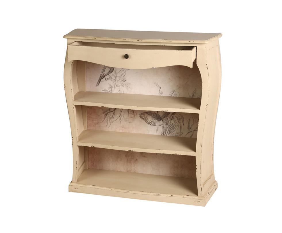 СтеллажСтеллажи<br>&amp;lt;div&amp;gt;Этот винтажный стеллаж изготовлен из роскошного красного дерева. Массив окрашен в цвет слоновой кости и искусственно состарен. Еще большую оригинальность мебели придают детали: характерные потертости, округлые боковые стенки, выдвижной ретро-ящик и задняя стенка с принтом в стиле карандашного наброска.&amp;lt;/div&amp;gt;<br><br>Material: Красное дерево<br>Length см: 90<br>Depth см: 30<br>Height см: 95
