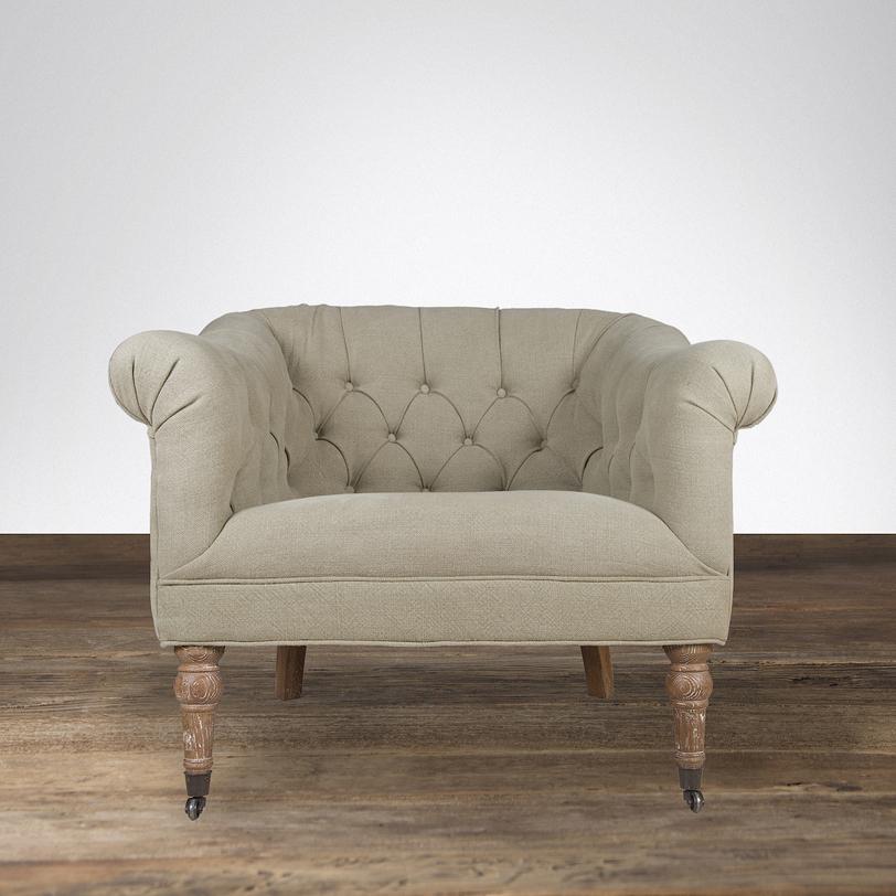 КреслоИнтерьерные кресла<br>Кресло от итальянских дизайнеров сразу привлекает к себе внимание благодаря оригинальной форме: широкое сиденье и невысокая спинка одной высоты с подлокотниками. Спинка кресла декорирована каретной стежкой. Кресло натурального песочного цвета дополнит современный интерьер<br><br>Material: Текстиль<br>Length см: None<br>Width см: 91<br>Depth см: 83.5<br>Height см: 76<br>Diameter см: None