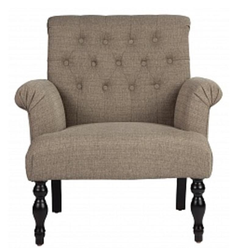 Кресло DormaИнтерьерные кресла<br>Красивое и нарядное кресло Дорма декорировано резными деревянными ножками, покатыми подлокотниками, а спинка - классической каретной стежкой. Стильный и универсальный туповый, серо-бежевый цвет позволит вписать кресло как в классический, таки в современный интерьер - от ар-деко до эклектики.<br><br>Material: Текстиль<br>Length см: None<br>Width см: 83<br>Depth см: 78<br>Height см: 88