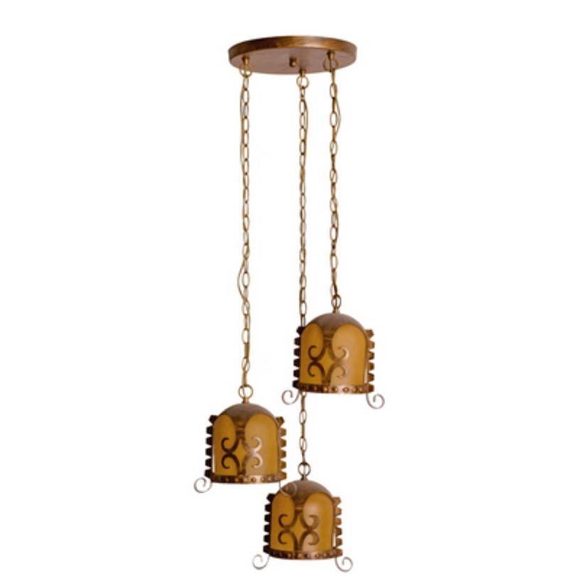 Подвесной светильник СамурайПодвесные светильники<br>Крашеное металлическое основание состаренного коричневого цвета, декоративные плафоны из стекла.<br>3*60W E27<br>Тип лампы: Накаливания<br>Регулируемая высота подвеса: 85 см<br>Рекомендуемая площадь освещения: 9 кв. м<br><br>Material: Металл<br>Height см: 120<br>Diameter см: 40