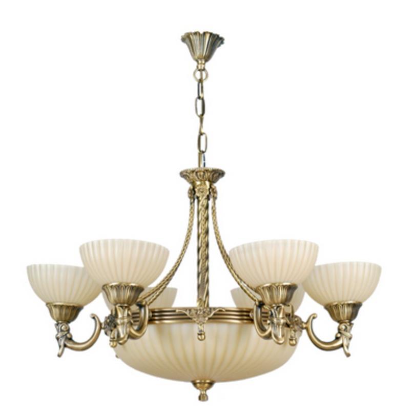 Люстра АфродитаЛюстры подвесные<br>Алюминиевое основание цвета античной бронзы, стеклянные плафоны цвета ванили.<br>6*60W E27+3*60W Е14<br>Тип лампы: Накаливания<br>Регулируемая высота подвеса: 30 см<br>Рекомендуемая площадь освещения: 27 кв. м<br><br>Material: Металл<br>Height см: 90<br>Diameter см: 75