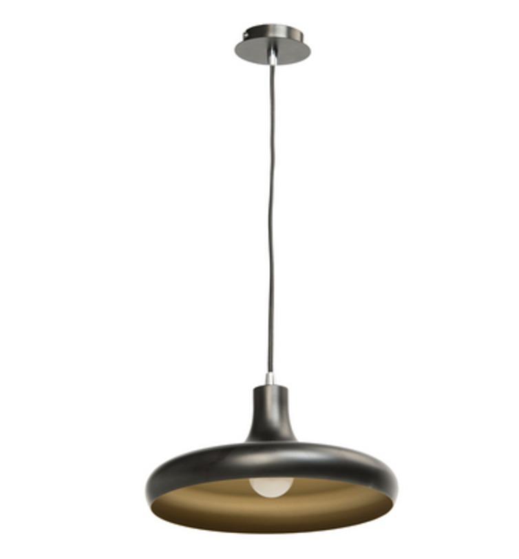 Люстра РаундПодвесные светильники<br>Основание и плафон из крашенного металла черного матового цвета/цвет золота<br>1*23W E27<br>Регулируемая высота подвеса: 110 см<br>Рекомендуемая площадь освещения: 3 кв. м<br><br>Material: Металл<br>Height см: 136<br>Diameter см: 31
