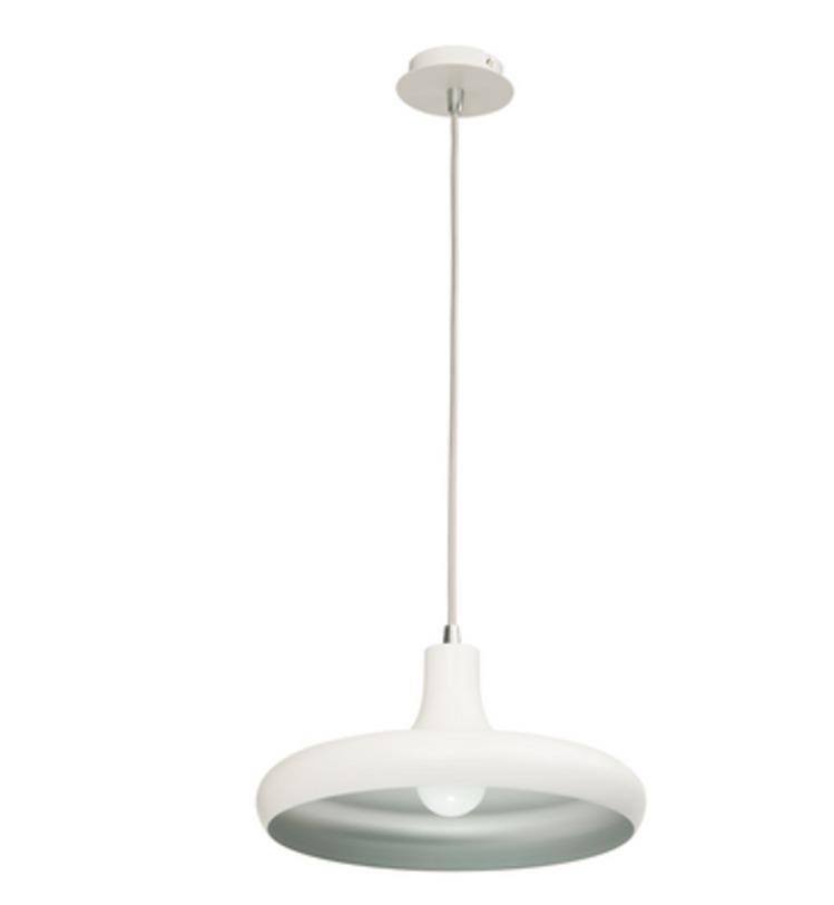 Подвесной светильник РаундПодвесные светильники<br>Основание и плафон этой минималистичной люстры изготовлены из металла, окрашенного в белый цвет. Внутренняя часть плафона серебристая. Цоколь типа Е27 предусмотрен для лампы мощностью 23 Вт, ее будет достаточно для равномерного освещения площади в 3 кв.м. Регулируемая высота подвеса составляет 110 см.<br><br>Material: Металл<br>Height см: 136<br>Diameter см: 31