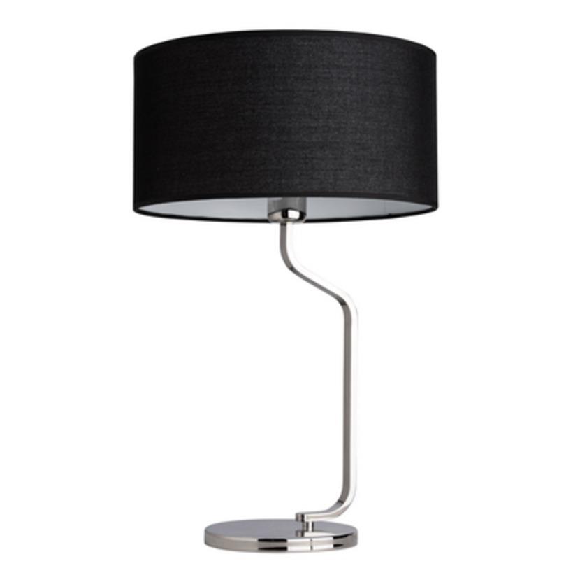 Лампа ШаратонДекоративные лампы<br>Основание из нержавеющей стали цвета хрома, текстильный абажур из черного льна.<br>1*60W E27<br>Рекомендуемая площадь освещения: 3 кв. м<br><br>Material: Лен<br>Height см: 58<br>Diameter см: 36