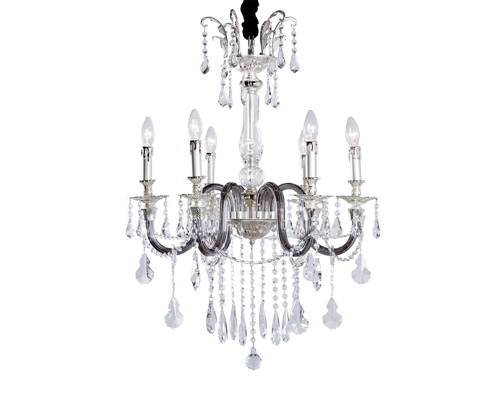 ЛюстраЛюстры подвесные<br>Серебристое основание лампы одето в прозрачное и темное стекло. Многочисленные подвесы на длинных гирляндах служат дополнительным украшением. Светильник рассчитан на 6 ламп с цоколем Е14.<br><br>Material: Металл<br>Length см: 64<br>Width см: 64<br>Height см: 84