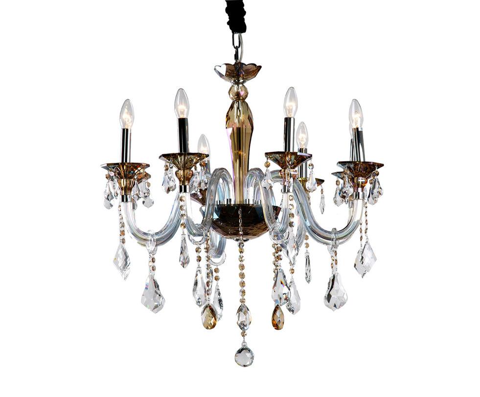 ЛюстраЛюстры подвесные<br>Красивая, благородная люстра из прозрачного и цветного стекла. Хромированное основание одето в стекло белого и коньячного цвета. Ромбовидные подвесы на длинных гирляндах. Рассчитана на 8 ламп с цоколем Е14.<br><br>Material: Металл<br>Length см: 78<br>Width см: 78<br>Height см: 72