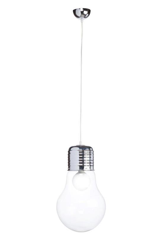 Подвесной светильник Bulb LargeПодвесные светильники<br>Оригинальная и стильная подвесная лампа, сделанная в виде лампы накаливания, выглядит очень эффектно и придает интерьеру особое очарование. Необычная форма светильника, выполненного из алюминия и стекла, неизменно привлекает внимание, несмотря на кажущуюся простоту.<br>Материал: алюминий, стекло<br>Цвет: Прозрачный<br>Мощность: 40 W<br><br>Material: Стекло<br>Length см: 30<br>Width см: 30<br>Height см: 46