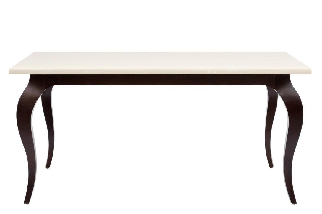 Обеденный стол Riviere GrandeОбеденные столы<br>Обеденный стол для небольшой компании из четырех-шести человек. Основание с классическими французскими изгибами выполнено из натурального дерева. Светлая столешница из мрамора выгодно освежит обеденную зону.<br><br>Материал: дерево (ясень), натуральный мрамор<br>Цвет: темно-коричневый, кремовый<br><br>Material: Ясень<br>Length см: 160.5<br>Width см: 102<br>Height см: 75