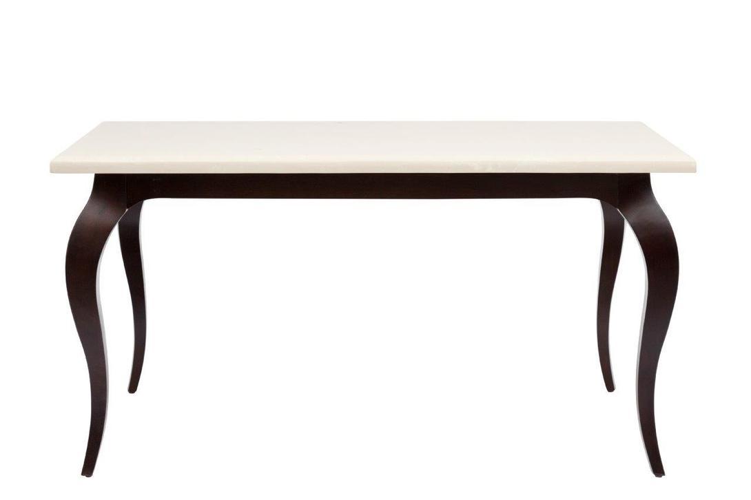 Обеденный стол Riviere MedioОбеденные столы<br>Элегантный обеденный стол в стиле прованс контрастно подчеркивает красоту натуральных материалов. Легкое основание из темного дерева накрывает тяжелый, но воздушный мрамор столешницы.<br><br>Материал: дерево (ясень), натуральный мрамор<br>Цвет: темно-коричневый, кремовый<br><br>Material: Ясень<br>Length см: 140.5<br>Width см: 102<br>Height см: 75