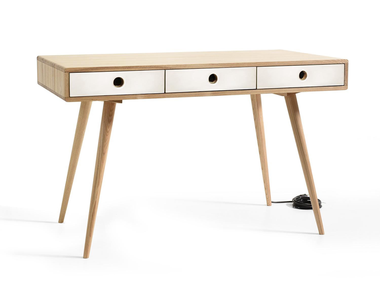 Рабочий стол n cord со встроенными розетками (acwd) белый 120x75x60 см.