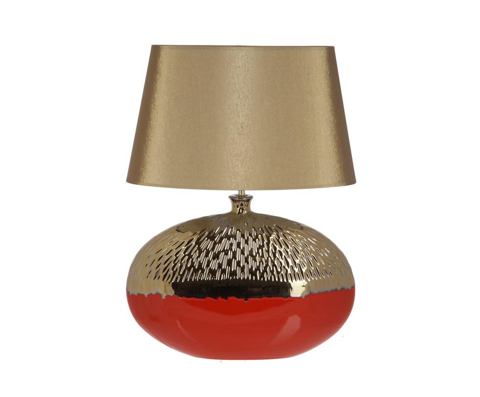 Настольная лампаДекоративные лампы<br>Основание этой лампы выполнено в форме диска с небольшим узким горлышком. Нижняя половина алого цвета гладкая, а верхняя, цвета старого золота, покрыта мелким рельефом, напоминающим оперение птицы. Оно дополнено абажуром такого же золотого цвета. Драгоценный предмет интерьера.&amp;lt;div&amp;gt;&amp;lt;br&amp;gt;&amp;lt;/div&amp;gt;&amp;lt;div&amp;gt;&amp;lt;div&amp;gt;Вид цоколя: E27&amp;lt;/div&amp;gt;&amp;lt;div&amp;gt;Мощность: 60W&amp;lt;/div&amp;gt;&amp;lt;div&amp;gt;Количество ламп: 1&amp;lt;/div&amp;gt;&amp;lt;/div&amp;gt;<br><br>Material: Керамика<br>Ширина см: 45.0<br>Высота см: 62.0<br>Глубина см: 30.0