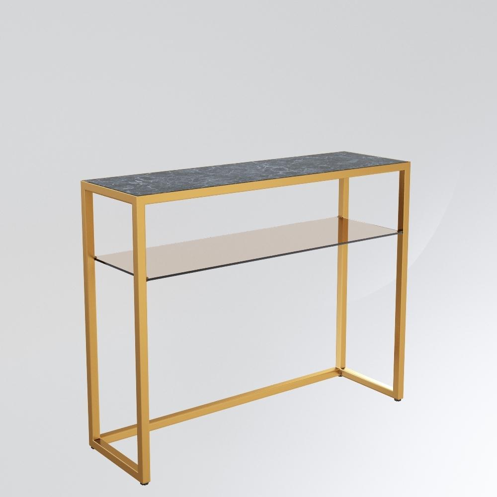Консоль с мраморной столешницей (for miss) золотой 101.0x80.0x31.0 см.
