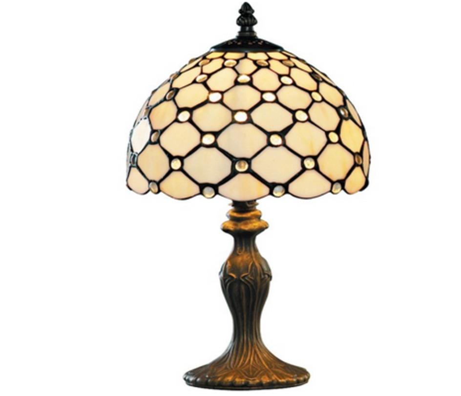"""Настольная лампа RaindropДекоративные лампы<br>Настольная лампа Raindrop выполнена в стиле """"Тиффани"""", ставшей классикой 20 века. Этот стиль характеризует способ соединения небольших кусочков стекла с помощью медной фольги. Техника Тиффани стала самой распространенной во всем мире для создания витражей и ламповых абажуров. Однако, и основание этой лампы привлекает к себе внимание не меньше, чем абажур.<br><br>Мощность: 1 x E27<br><br>Material: Стекло<br>Height см: 38<br>Diameter см: 20"""