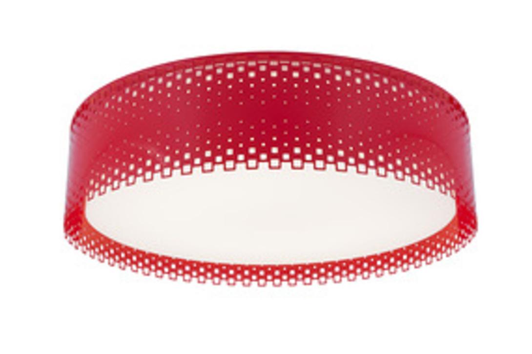 Светильник RedПотолочные светильники<br>Оригинальный потолочный светильник Смит из красного стекла - для смелых современных интерьеров. Такой светильник круглой формы будет уместен на кухне или в детской комнате.<br><br>Power LED 1*24+1*15w<br><br>Material: Стекло<br>Height см: 13<br>Diameter см: 49