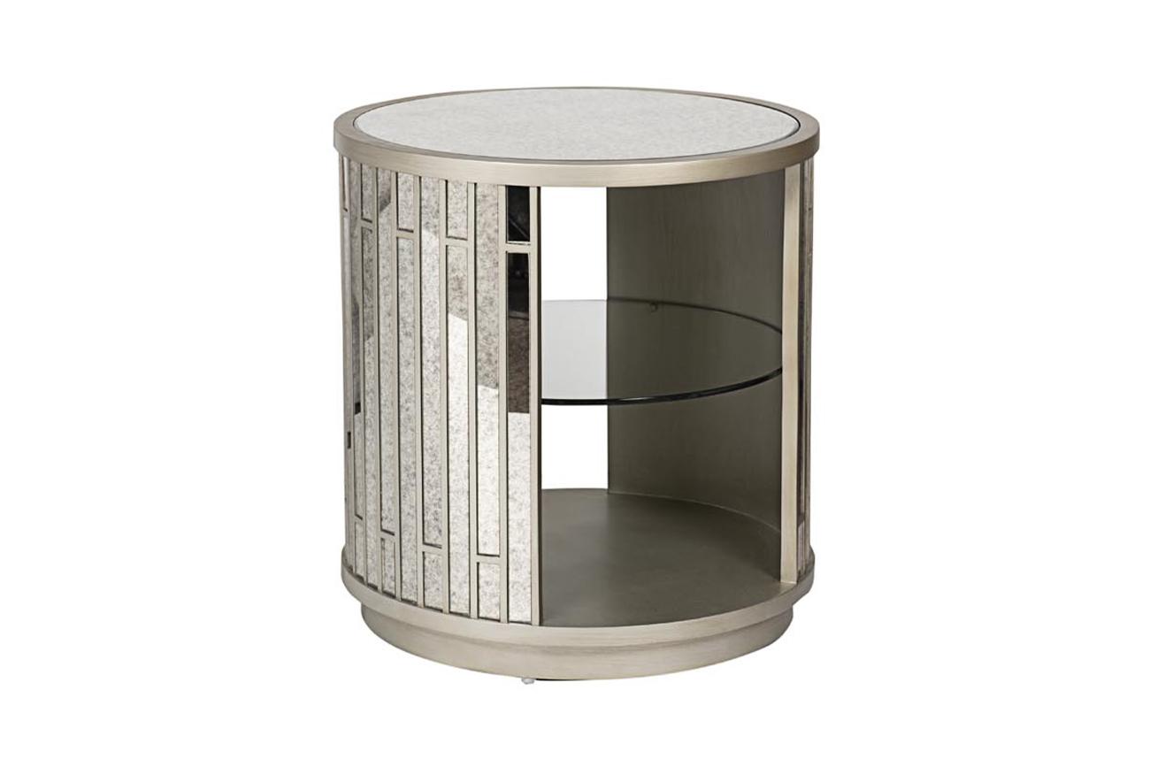 Столик журнальный круглый зеркальный (garda decor) серебристый 61x63x61 см.