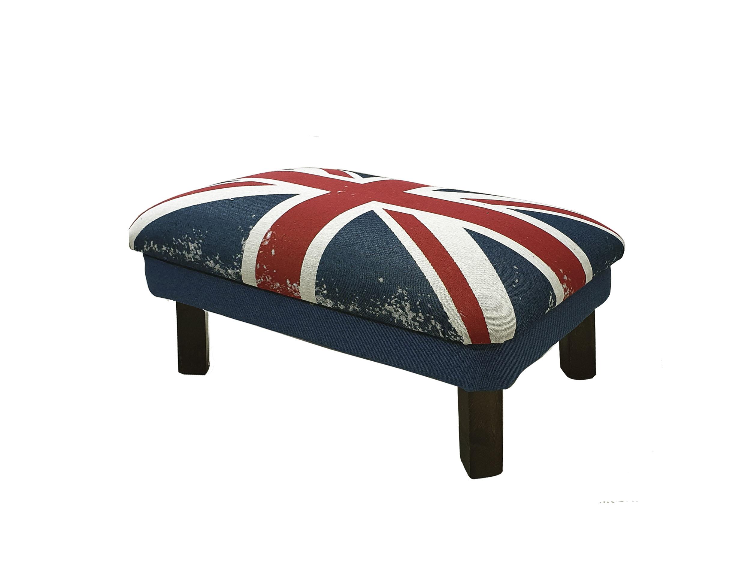 Пуф британский флаг (benin) синий 60x30x40 см.