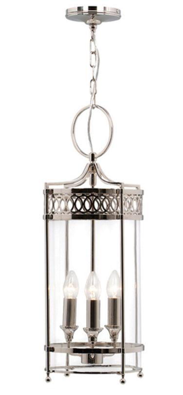 Светильник Guildhall Pendant Polished NickelПодвесные светильники<br>Подвесной светильник в стиле прованс из полированного никеля напоминает европейский уличный фонарь, стилизованный с учетом современных веяний. Серебристый блеск подарит приятный холодный оттенок в интерьер.<br><br>Мощность: 3 x 60W E14<br>Длина подвеса: 123 см.<br><br>Material: Никель<br>Высота см: 62