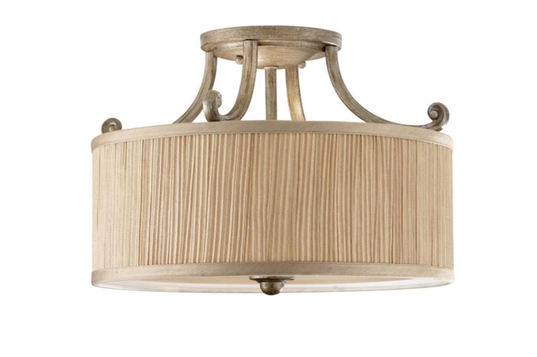 Люстра AbbeyЛюстры потолочные<br>Подвесной светильник из коллекции Abbey подойдет для создания света в прихожей, холле, спальне. Плафон изготовлен из плиссированной ткани теплого песочного оттенка. Красивый светильник в стиле Прованса подойдет для оформления как классических, так и современных интерьеров.<br><br>Мощность: 3x E27 60W<br><br>Material: Текстиль<br>Length см: None<br>Width см: None<br>Depth см: None<br>Height см: 26.0<br>Diameter см: 35.6