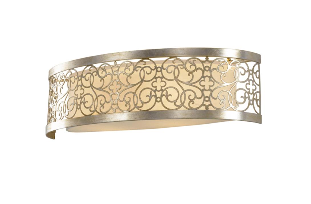 Бра Arabesque Silver Leaf PatinaБра<br>Настенный светильник из металла в стиле французский шик. Основной плафон укрыт серебристым каркасом с изгибами цветочных форм.<br>Покрытие ажурной конструкции с эффектом старины, имеет видимые потертости, царапины, сколы.<br>Мощность: 2x E27 100W<br><br>Material: Металл<br>Width см: 61.6<br>Depth см: 18.4<br>Height см: 17.1