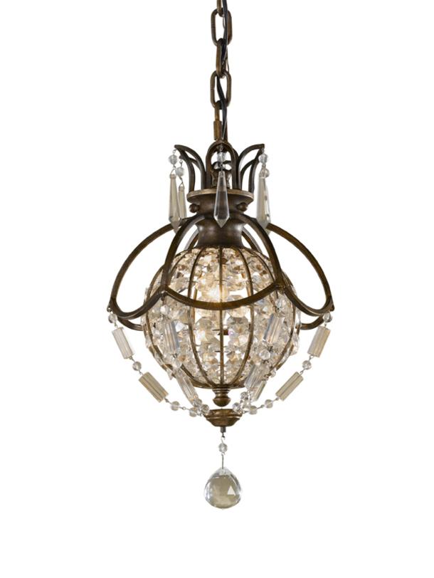 Светильник Bellini British BronzeПодвесные светильники<br>Французский изысканный вкус ценят во всем мире. Этот подвесной светильник является его прямым воплощением. Царский бронзовый каркас увешан блестящими подвесками в форме бриллиантов.<br><br>Мощность: 1x E14 60W<br><br>Material: Бронза<br>Высота см: 36