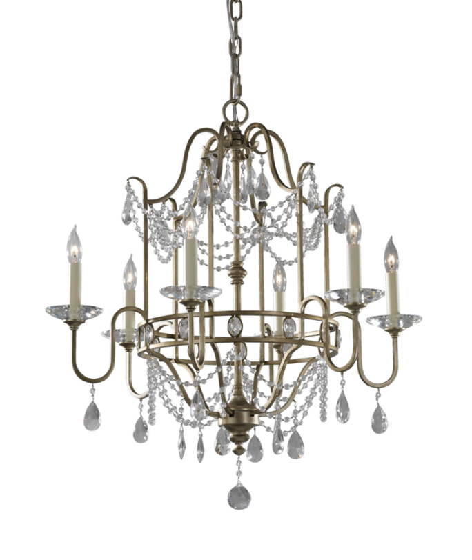 Люстра GiannaЛюстры подвесные<br>Шикарная люстра в стиле французских дворцовых интерьеров. Металлический каркас привлекает изящными изгибами и декором в виде стелкянных подвесок из бус, мерцающих в свете ламп в форме свечей.<br><br>Мощность: 6x E14 60W<br><br>Material: Металл<br>Высота см: 72