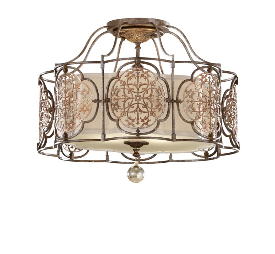 Светильник MarcellaПотолочные светильники<br>Светильник Marcella - великолепный предмет декора для вашего дома. Кованные узорные медальоны из британской бронзы создают красивый каркас для плафона из бежевого полупрозрачного стекла. Светильник украсит спальню, гостиную, прихожую как в классическом, так и в современном стиле.<br><br>Мощность: 3x E27 60W<br><br>Material: Бронза<br>Высота см: 44