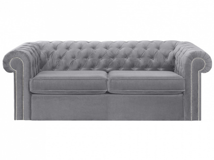 Диван chesterfield (ogogo) серый 208x73x105 см.