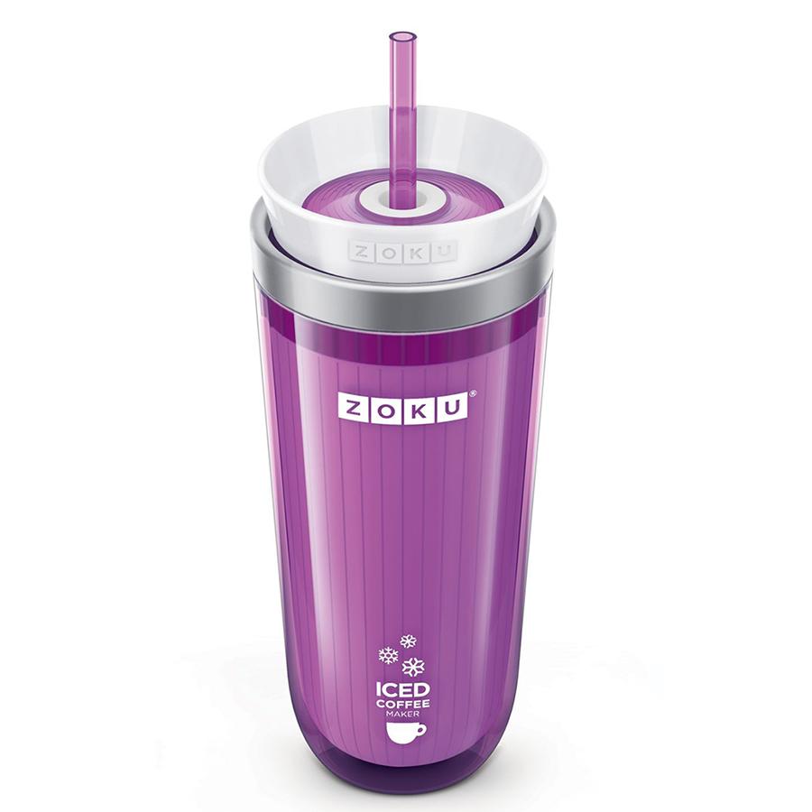 Стакан для охлаждения напитков iced coffee maker (zoku) фиолетовый 9x21x9 см.