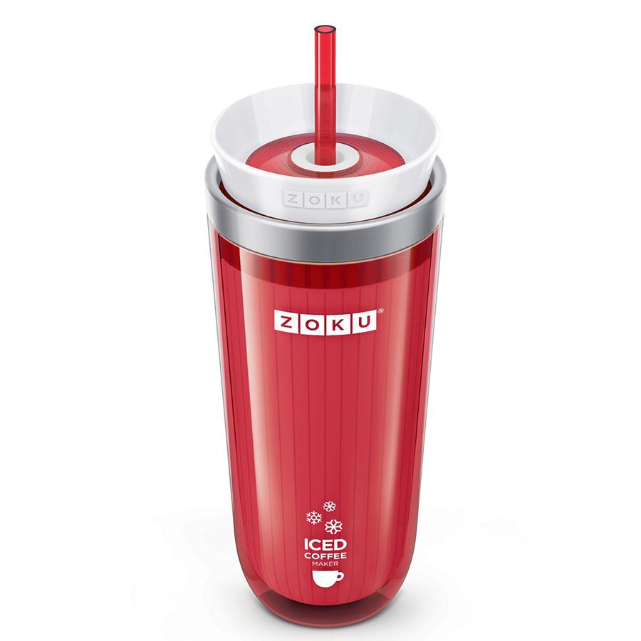 Стакан для охлаждения напитков iced coffee maker (zoku) красный 9x21x9 см.