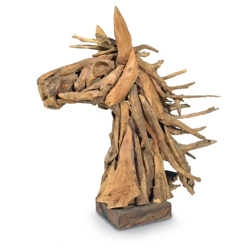 Декор Driftwood horse headДругое<br>Роскошная, динамичная скульптура из дерева. Конская голова с развивающейся на ветру гривой, составленная из ломаных веток.<br><br>Material: Дерево<br>Length см: 77.0<br>Width см: 32.0<br>Depth см: None<br>Height см: 82.0<br>Diameter см: None