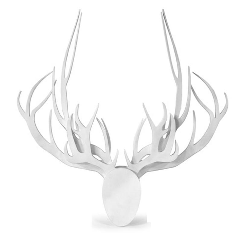 Настенные рога с головой №X3 3 рогаВешалки<br>Настенный аксессуар - стилизованная голова оленя с рогами. Фигура выполнена из натурального материала, возможно изготовление в различных оттенках.<br><br>Варианты отделки: натуральная поверхность березовой фанеры покрытая лаком; черный цвет; белый цвет.<br>Способ крепления: на обратной стороне имеют 2 закладные детали для повески на стену.<br><br>Срок изготовления: 4-5 недель.<br><br>Material: Фанера<br>Length см: None<br>Width см: 87.5<br>Depth см: None<br>Height см: 89.0<br>Diameter см: None