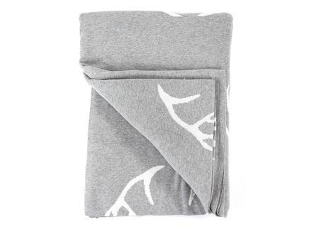 Плед с орнаментом deer , (enjoyme) серый 130x180x1 см.