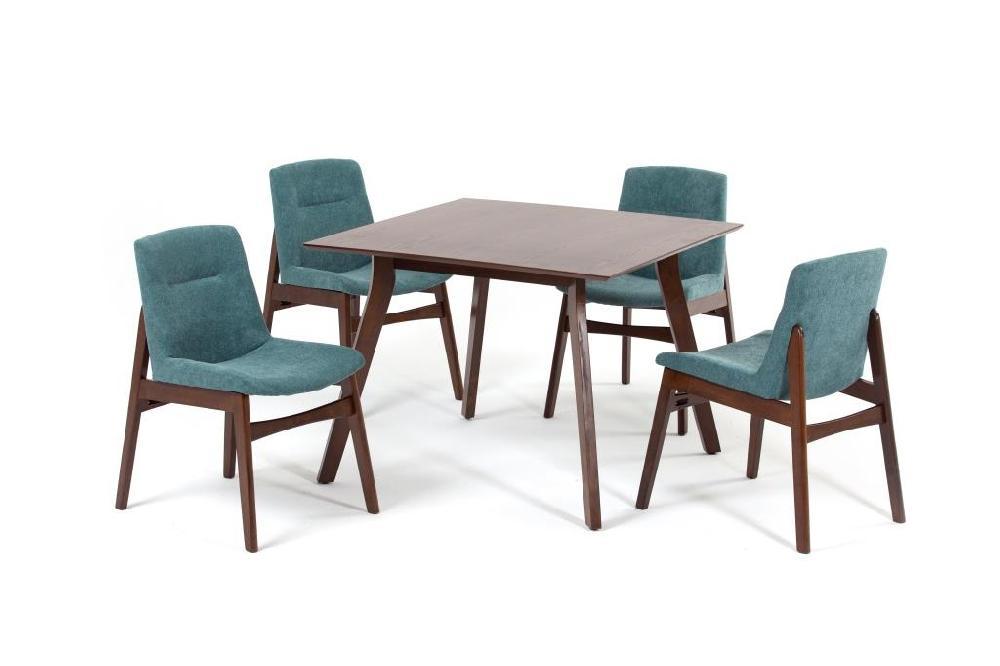 Комплект обеденный (стол singa + 4 кресла kajang) (ecodesign) зеленый 100.0x75.0x100.0 см.