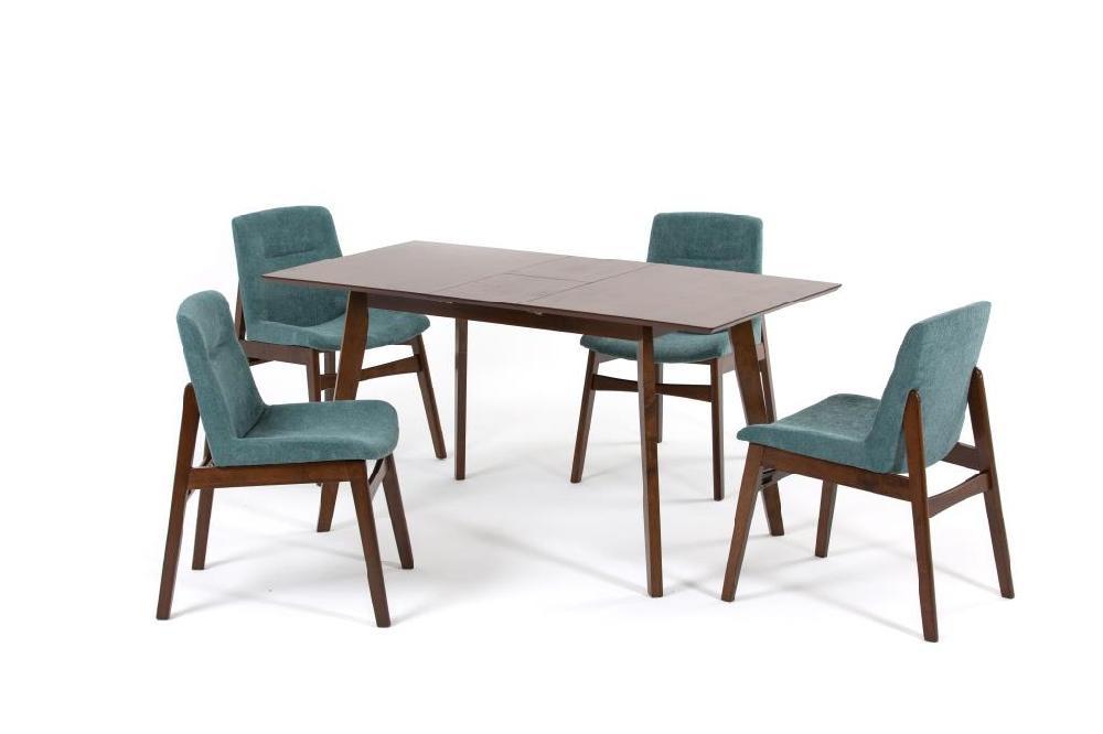 Комплект обеденный (стол раздвижной sandakan + 4 кресла kajang) (ecodesign) зеленый 120.0x75.0x75.0 см.