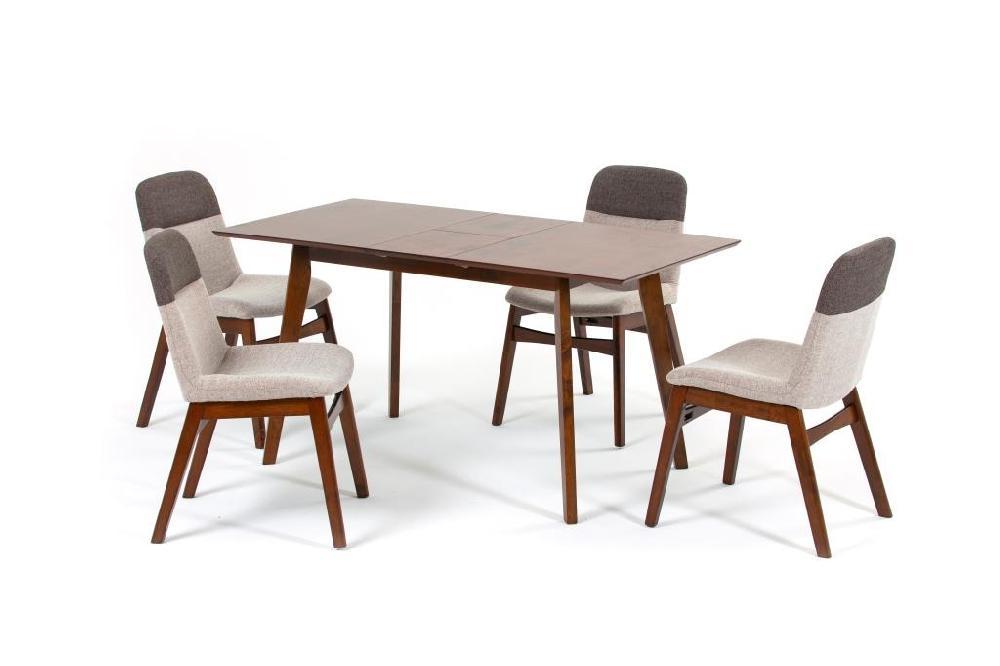 Комплект обеденный (стол раздвижной sandakan + 4 кресла bangi) (ecodesign) коричневый 120.0x75.0x75.0 см.