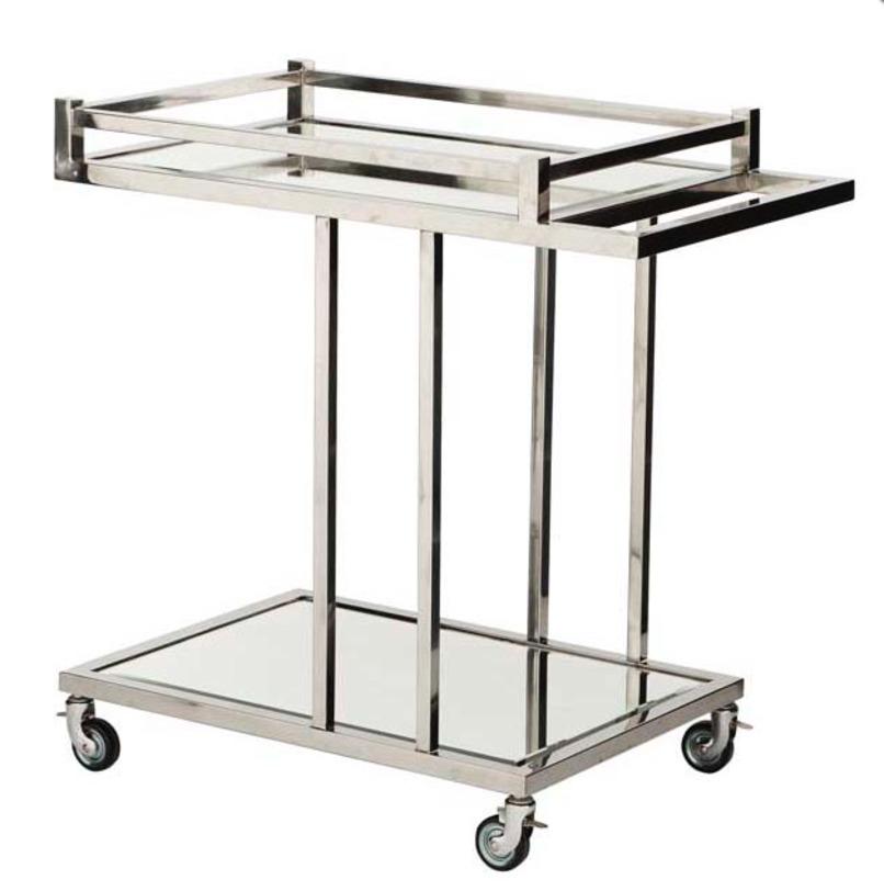 Тележка Беверли ХилсСервировочные столики<br>Тележка-столик из хромированного металла и зеркального стекла не просто удобная вещь, которую можно использовать в качестве подноса, журнального и приставного столика, полочки для хранения, но и невероятно красивый аксессуар интерьера в стиле лофт.<br><br>Материал: металл, стекло<br><br>Material: Металл<br>Length см: 78<br>Depth см: 46<br>Height см: 79