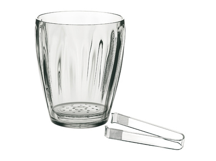 Ведёрко для льда со щипцами (guzzini) прозрачный 13x17x13 см.
