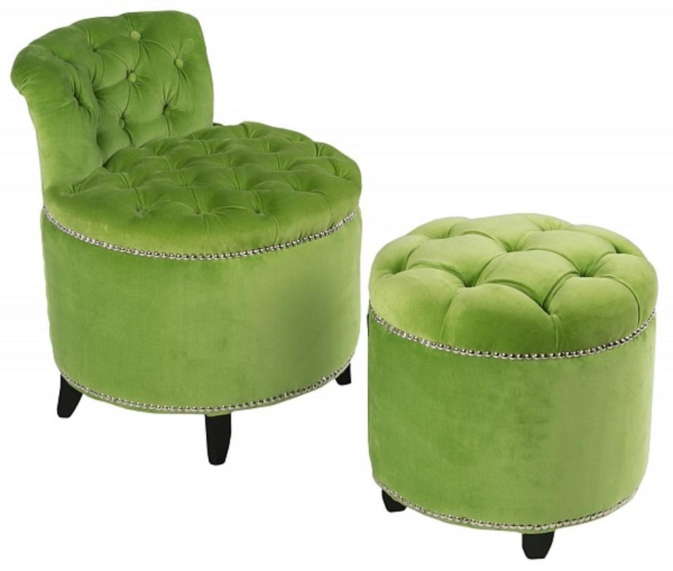Комплект из стула и пуфа Greta GarboПолукресла<br>Мягкий пуф зеленого цвета в обивке из ткани от бренда EICHHOLTZ. Ничто из мебели не дополняет интерьер так, как пуфы. Мягкие очертания прекрасно впишутся в любое интерьерное решение.<br><br>Размеры:<br>Длина: 52/43<br>Ширина: 52/43<br>Высота: 63/43<br><br>Material: Текстиль<br>Length см: None<br>Width см: 52<br>Depth см: 52<br>Height см: 63<br>Diameter см: None