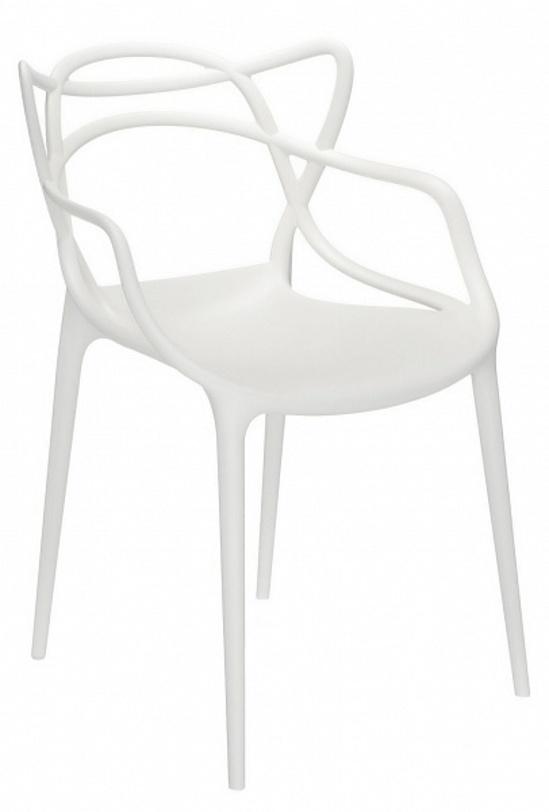 Кресло MastersИнтерьерные кресла<br>Кресло из итальянского пластика Kartell белого цвета. Изящные переплетения каркаса создают невесомую спинку и подлокотники в космическом стиле.<br><br>Material: Пластик<br>Length см: None<br>Width см: 57<br>Depth см: 47<br>Height см: 84